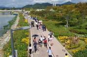 [포토뉴스] 장성 황룡강 꽃길을 걸으며 오랜만에 느끼는 상쾌한 가을
